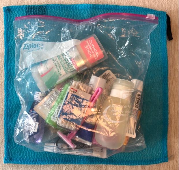 Ziplock bag of travel-sized toiletries