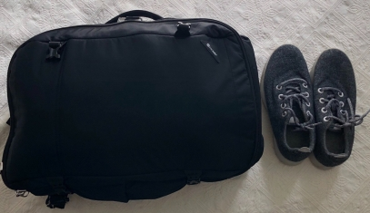 PacSafe 40L Weekender Backpack with grey merino wool All Birds Sneakers